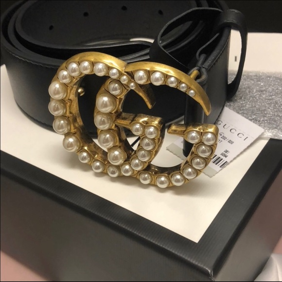c65c52ea6 Gucci Accessories | Leather Belt With Pearl Double G | Poshmark